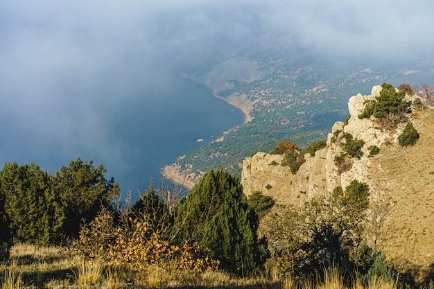 Красивая гора с лесами в утреннем тумане