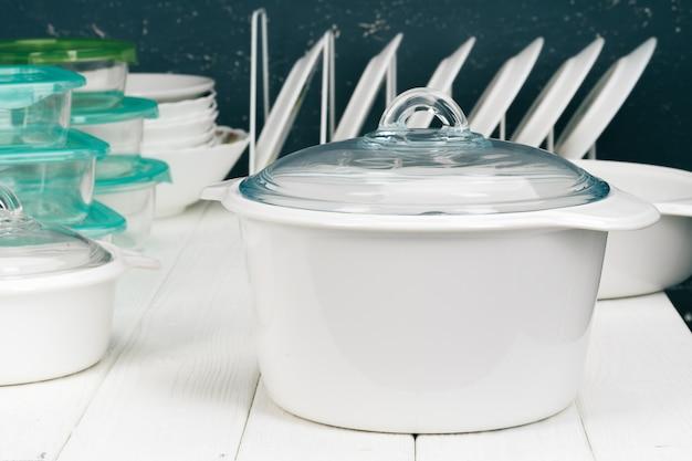 Белая кастрюля в кухонном интерьере