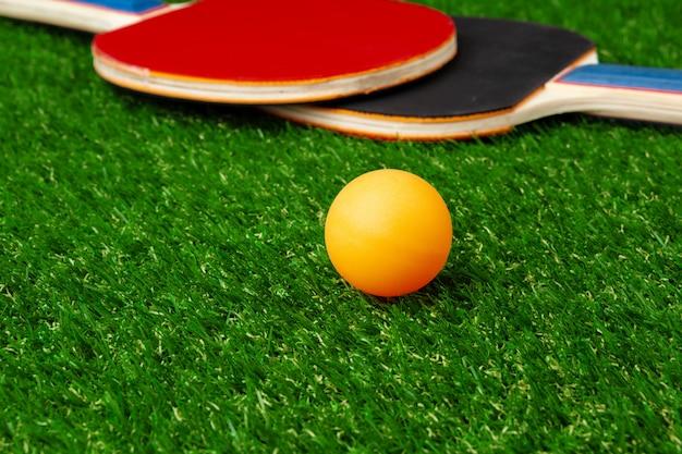 草の上のピンポンラケットとボール