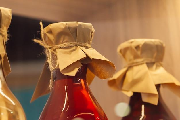 保存食付きのガラス瓶をクローズアップ