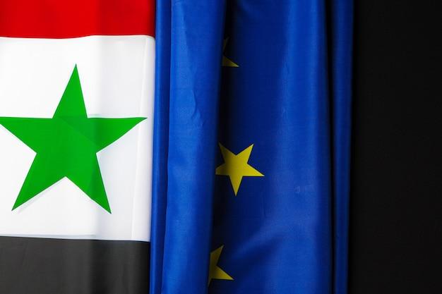 Флаги сирии и евросоюза вместе