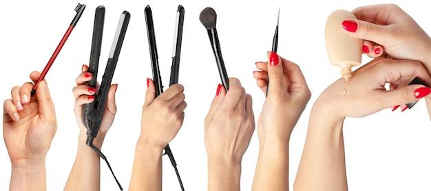 Много рук с макияжем