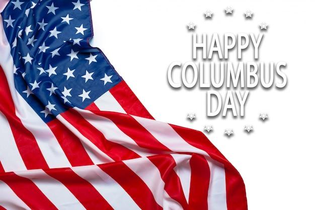 幸せなコロンブスデーバナー、アメリカの愛国的な背景