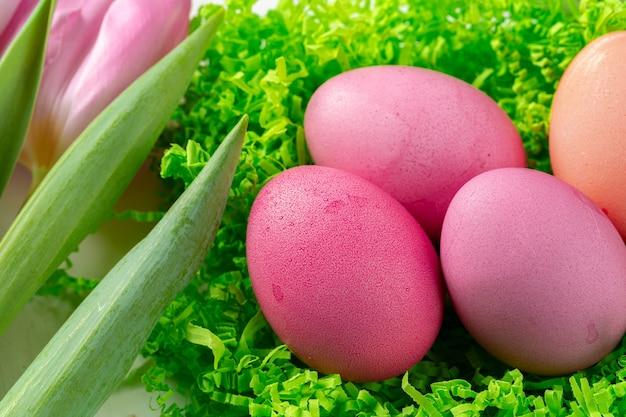ピンクのチューリップとカラフルな卵。イースターのコンセプト