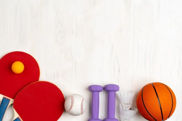 スポーツアクセサリーの構成のトップビュー