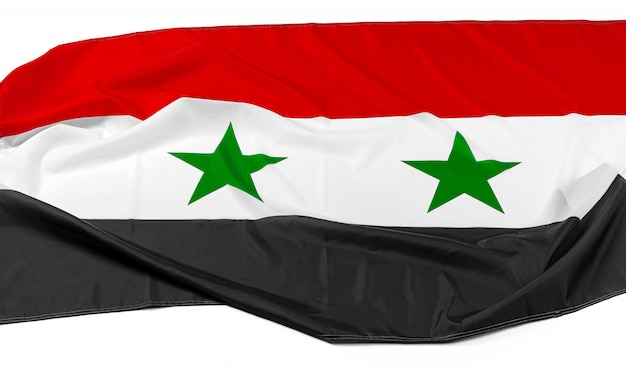 Фото ткани флаг сирии крупным планом