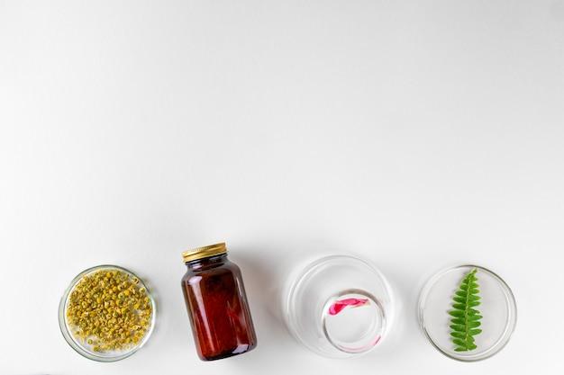 Делая травяную пищевую добавку в лаборатории с листьями растений. концепция здоровья и красоты