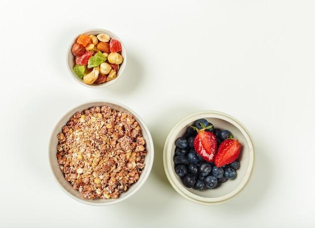 健康的な食事の朝食の食材