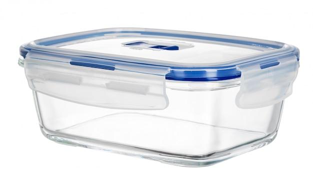 分離したガラス食品容器のクローズアップ