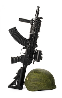 白で隔離される軍事おもちゃエアガンライフル