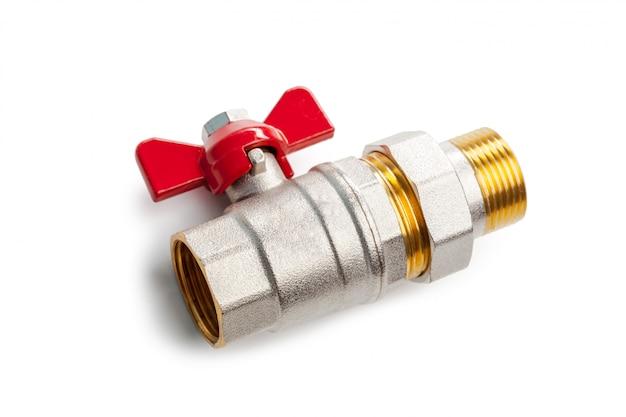 金属プラスチック配管継手、アダプター、白い背景で隔離のプラグのセット