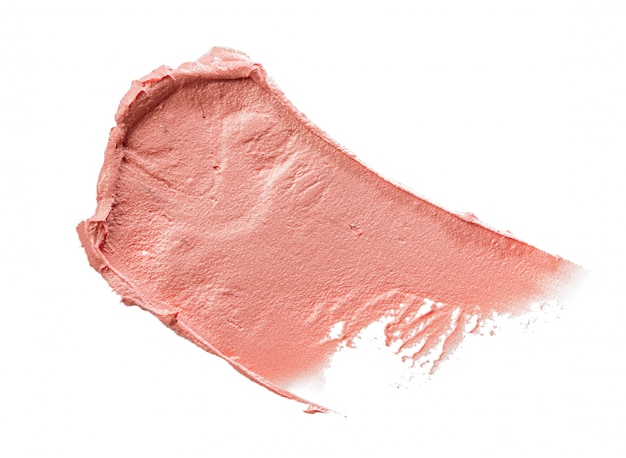 白で隔離されるピンクの口紅の汚れ