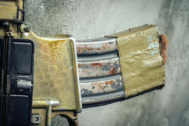 Современное оружие серии. штурмовая винтовка армии сша, крупный план.