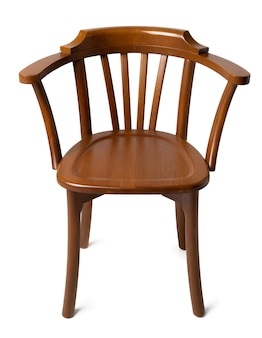 Старомодный старинный деревянный стул, изолированный на белом
