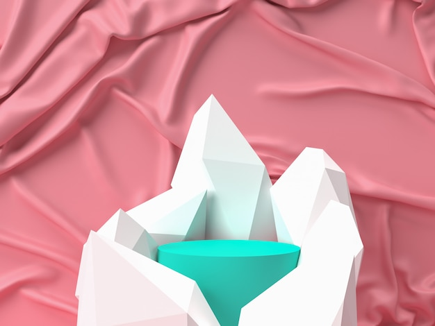 ピンクのパステル製品が背景に立っています。抽象的な最小限の幾何学の概念