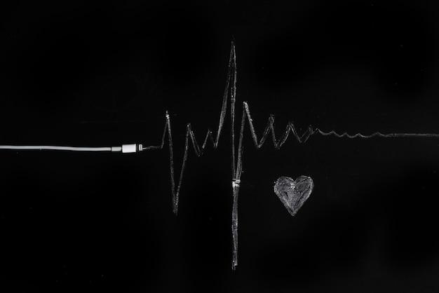 音楽、脈拍、心。黒の背景、ミニマリズム。