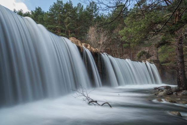 川の滝への長時間露光