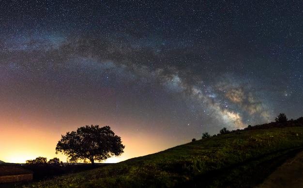 スペインの中心部の空に天の川アーク