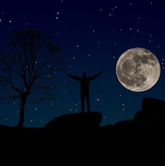 Силуэт человека, наблюдающего за ночным небом