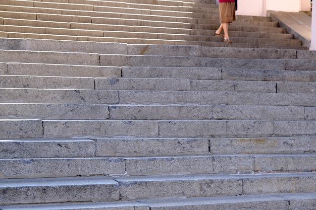 クローズアップ都市花崗岩の階段