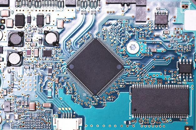 回路デジタルチップを閉じます。装飾とデザインのモックアップ