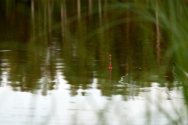 夏の夜に湖で釣り
