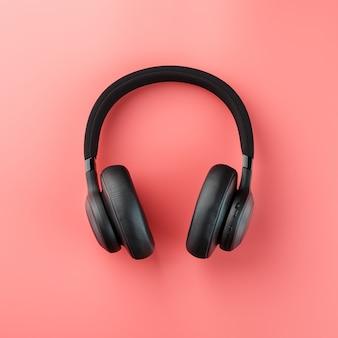 ピンクに黒のヘッドフォン