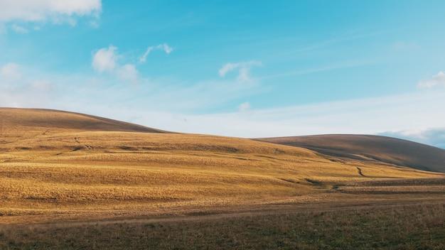 雄大な風景の中の日の出の黄金の丘と牧草地を通るルート。