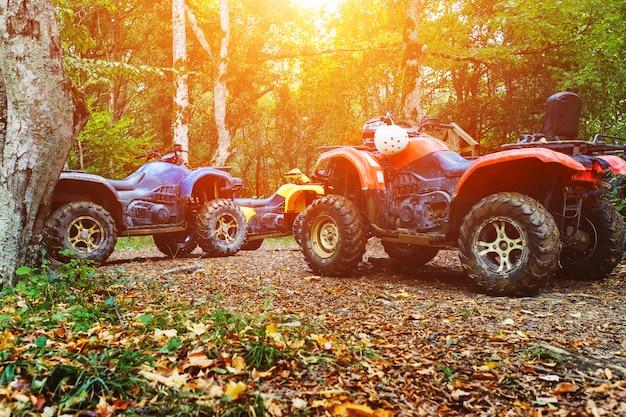 Группа квадроциклов в лесу, покрытом грязью. колеса и элементы вездеходов в грязи и глине