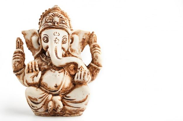 白のヒンドゥー教の神ガネーシュ