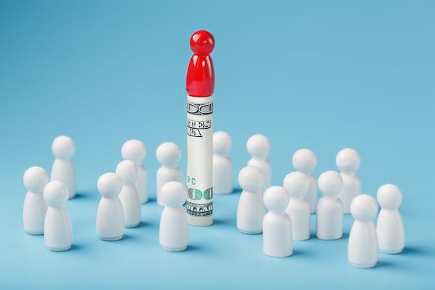 赤い男はお金のドルの上に立って、白人の群衆を管理します。貪欲な力と人々の管理の概念。