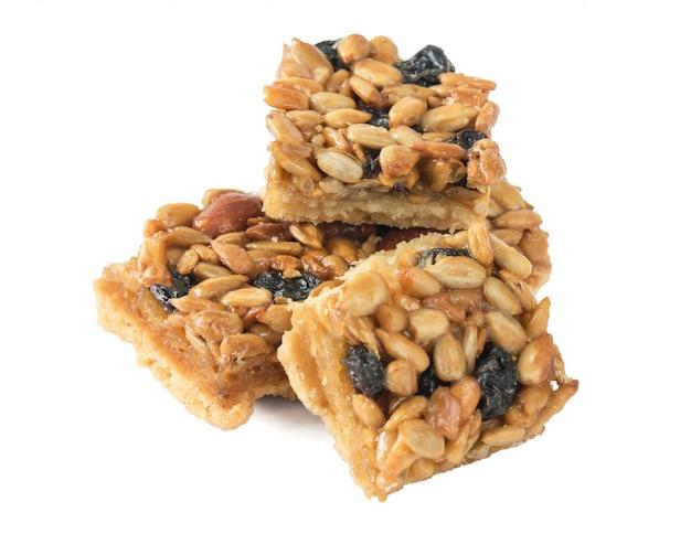 ピーナッツ、ヒマワリの種、乾燥ブドウのクッキー。