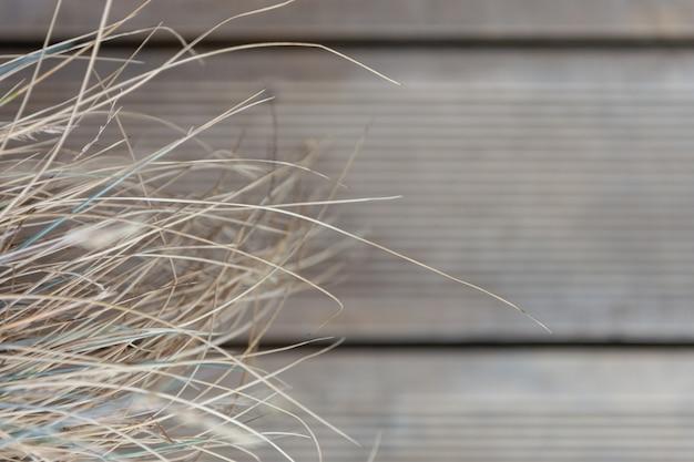 木の板の床の背景に乾いた草。