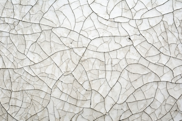 木の表面に古い時代のひびの入った白いペンキ。