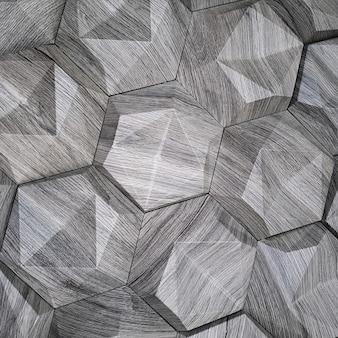 Фактура керамической плитки в форме шестиугольника из натурального камня серого цвета с выпуклыми поверхностями треугольной формы на фоне