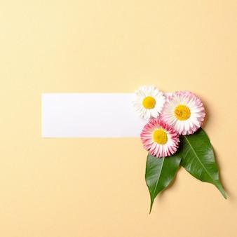 緑の葉とパステルイエローの背景の空白の紙ラベルと色とりどりの花で作られた春の組成物。