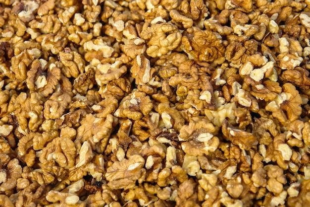 Очищенные грецкие орехи, крупным планом кучу больших очищенных грецких орехов