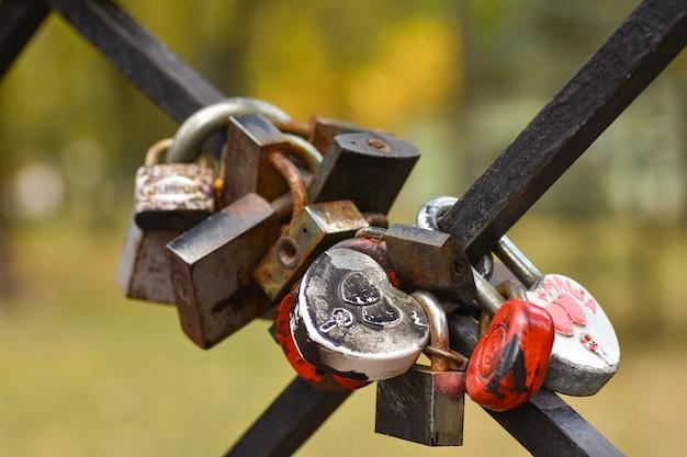Замки в форме сердца висят на заборе моста, символ любви и верности