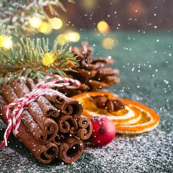 シナモンとドライオレンジのクリスマスグリーティングカード