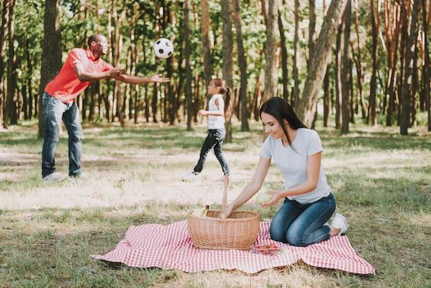 多国籍家族の概念。ピクニックの準備ができて。