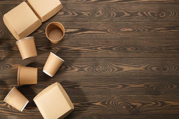 木材上の生分解性食器、二次加工。
