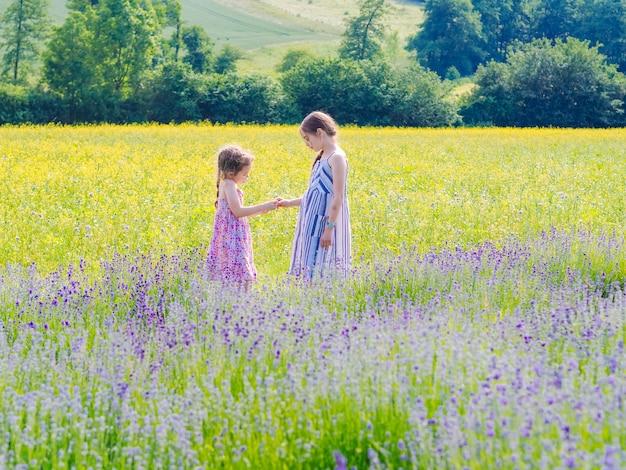 Две сестренки сидят между лавандовыми полями в провансе. фиолетовые лавандовые поля цветут в солнечном свете лета. море сирени цветы пейзаж. букет душистых цветов французского прованса