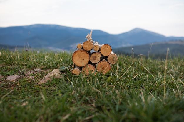 Осенние дрова заготовили для костра в карпатах на украине. колотые дрова для камина.