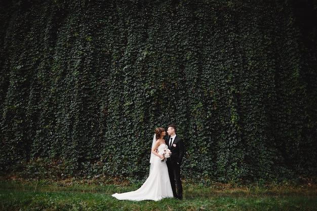 緑のアイビーの前の壁で結婚式の後、スタイリッシュなスーツで新郎と一緒にウェディングブーケと長い白いドレスを着た花嫁