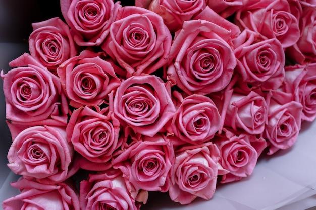豪華なピンクのバラとバレンタインデーの背景。