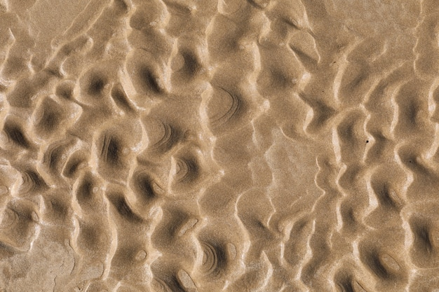 Закройте вверх по текстуре песка пляжа природы влажной в лете. выборочный фокус. песочная стена, обои