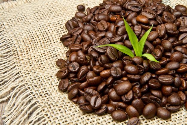 ジュートキャンバスにコーヒー豆