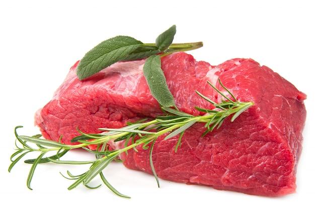 ローズマリーと生の肉の部分