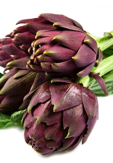 Фиолетовые артишоки. изолированные на белом фоне