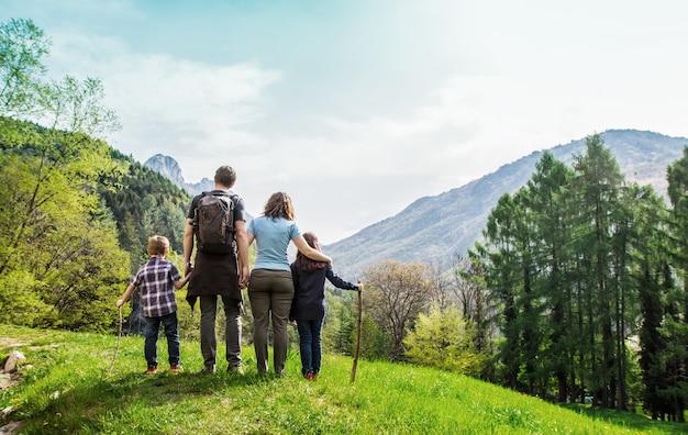 山のパノラマを見て緑の牧草地に家族